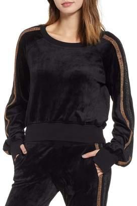 PAM AND GELA Crop Stripe Sleeve Sweatshirt
