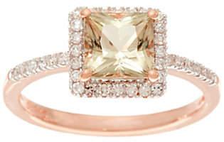 QVC Princess Cut Csarite & Pave' Diamond SolitaireRing, 14K Gold