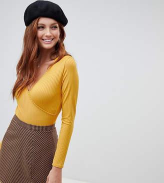 New Look long sleeve wrap bodysuit in dark yellow