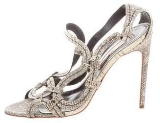 Rupert Sanderson Snakeskin Buckle Strap Sandals