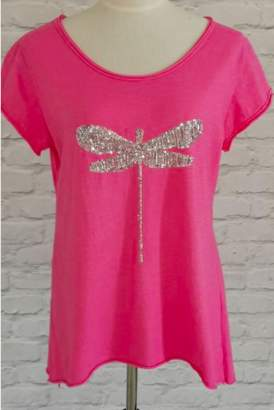 Luella One Size Cotton Tee Shirt in Pink with Dragonfly Sequins - one size | cotton | pink | silver sequin - Pink/Pink