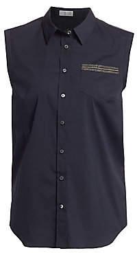 Brunello Cucinelli Women's Metallic Trim Sleeveless Collared Shirt