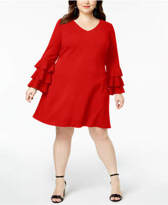 Love Squared Trendy Plus Size Tiered-Sleeve A-Line Dress