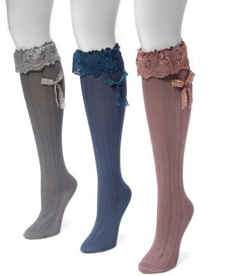 Muk Luks Women's 3-pk. Lace Bow Knee-High Socks