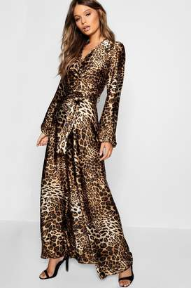 boohoo Leopard Print Satin Maxi Dress