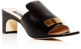 Sergio Rossi Women's Leather Mid-Heel Slide Sandals