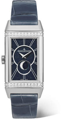 Jaeger-LeCoultre Reverso One Duetto Moon 20mm Stainless Steel, Diamond And Alligator Watch - Silver