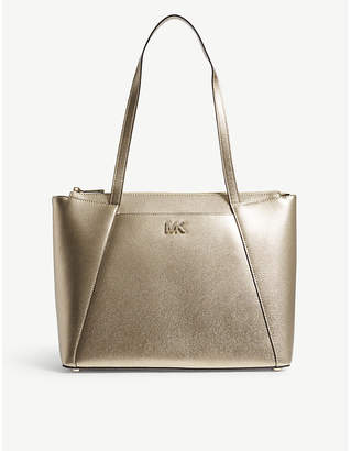 MICHAEL Michael Kors Michael Kors Pale Gold Modern Maddie Metallic Leather Tote Bag