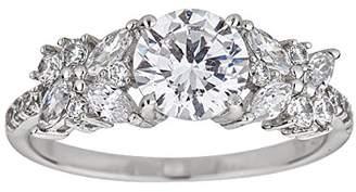 Decadence Women's Sterling Rhodium 7.00mm Round Cut Flower Motif Fancy Engagement Ring