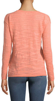 Minnie Rose Lightweight Solid Henley Sweater