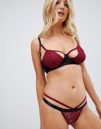 Wolfwhistle Wolf & Whistle cut out strappy lace thong in berry