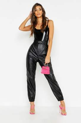 boohoo High Rise Leather Look Utility Jean