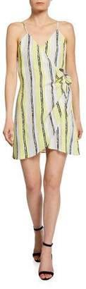 Cupcakes And Cashmere Rhea Striped Sleeveless Mini Wrap Dress