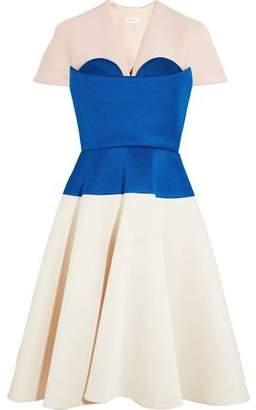 DELPOZO Cape-effect Color-block Neoprene Dress