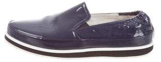 Prada Sport Patent Leather Round-Toe Loafers