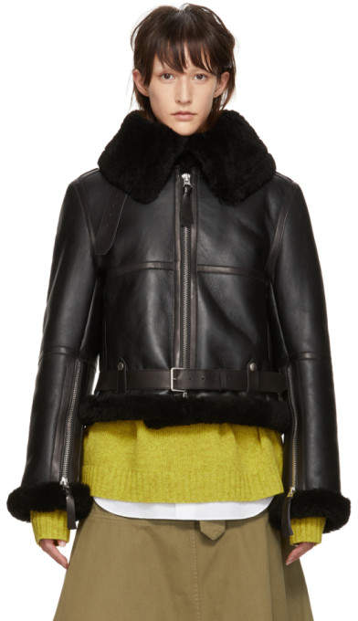 Black Shearling Cropped New Velocite Jacket