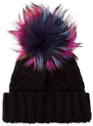 Adrienne Landau Multicolored Fox Fur Pom-Pom Beanie