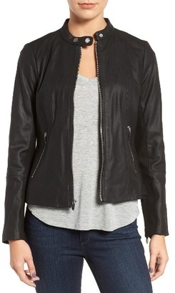 Women's Via Spiga Leather & Ponte Band Collar Jacket $378 thestylecure.com