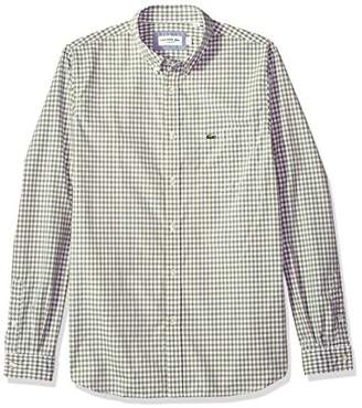 Lacoste Men's Long Sleeve with Pocket Gingham Poplin Regular Fit Woven Shirt