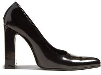 Balenciaga Block Heel Leather Pumps - Womens - Black