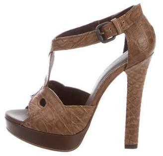 Bottega Veneta Crocodile Platform Sandals w/ Tags