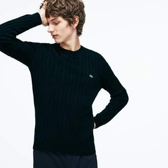 Lacoste Men's Crew Neck Wool Cable Knit Effect Sweater