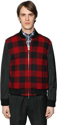 DSQUARED2 Check Wool & Nylon Sleeves Bomber Jacket