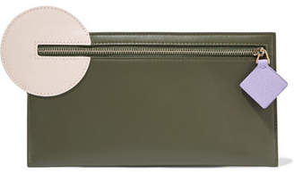 Roksanda Color-block Leather Pouch - Army green