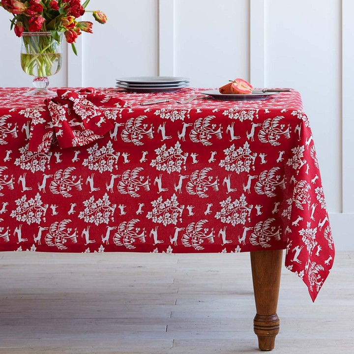 """Williams-Sonoma Prancing Deer Tablecloth, 70"""" Round"""