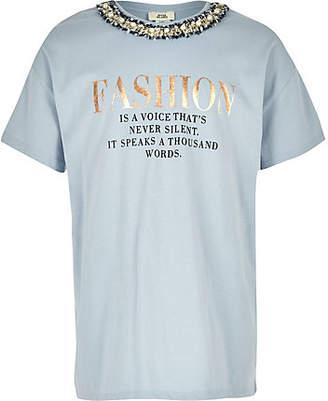 River Island Girls blue 'Fashion' embellished T-shirt
