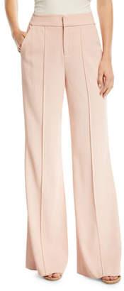 Alice + Olivia Dylan High-Waist Wide-Leg Pants w/ Pintucking