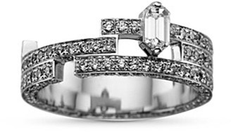 Dauphin 'Disruptive' pavé diamond 18k white gold three tier ring