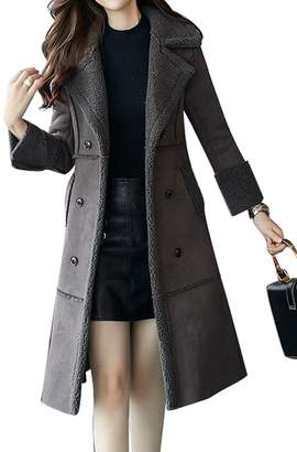 1739a47422c Pivaconis Womens Winter Warm Double-Breasted Long Wool Blend Pea Coat  Overcoat S