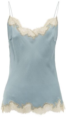 Carine Gilson Lace Trimmed Silk Cami Top - Womens - Blue