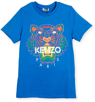 Kenzo Cotton Jersey Logo Tee, Bright Blue, Size 8-12 $65 thestylecure.com