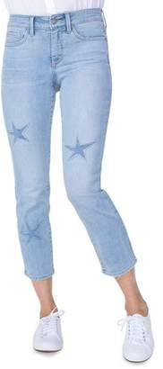 NYDJ Sheri Laser-Cut Star Ankle Jeans in Clean Cloud Nine