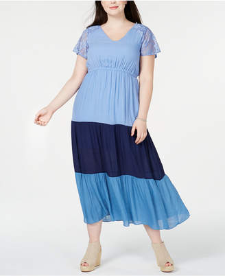 NY Collection Plus & Petite Plus Size Colorblocked Lace Maxi Dress