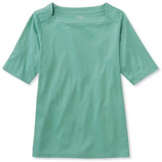 L.L. Bean L.L.Bean Pima Cotton Tee, Elbow Sleeve Envelope-Neck