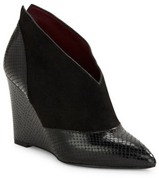 Marc Jacobs Marc Jacobs Mae Embossed Leather And Suede Wedges