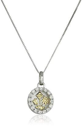 """Two-Tone Sterling and Yellow Gold Plated Two Piece Circle with Flowers""""Daughter"""" Pendant Necklace (1/10cttw"""