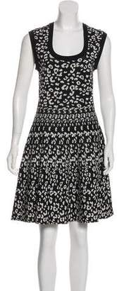 Rebecca Taylor Leopard Knit Knee-Length Dress