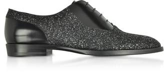 Jimmy Choo Tyler OGA Black Leather and Glitter Fabric Oxford Shoes