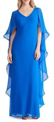 Lauren Ralph Lauren Cape-Overlay Chiffon Gown