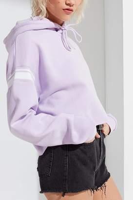 Urban Outfitters Varsity Stripe-Inset Cropped Hoodie Sweatshirt