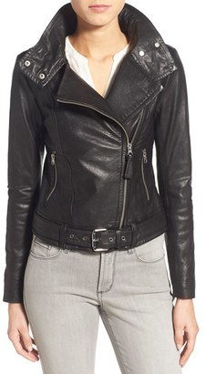 Women's Mackage Belted Leather Moto Jacket $790 thestylecure.com