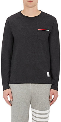 Thom Browne Men's Cotton Long-Sleeve Pocket T-Shirt-Dark Grey $390 thestylecure.com