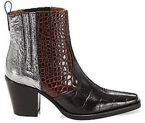 Ganni Women's Western Mixed-Media Leather Ankle Boots