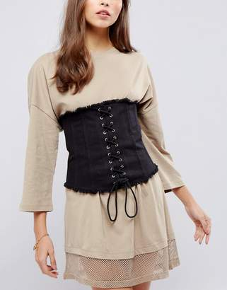 Asos DESIGN Twill Wide Corset Belt With Tie Detail