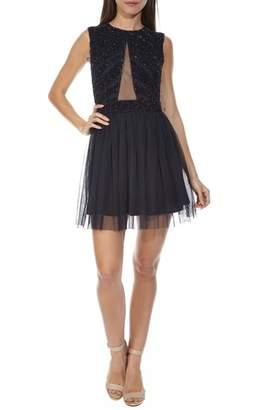 LACE & BEADS Agatha Embellished Skater Dress