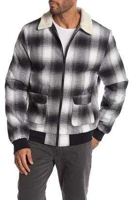 Sovereign Code Younger Faux Shearling Collar & Lined Plaid Jacket
